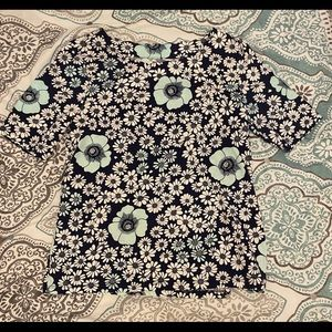 Floral Talbots Boatneck 3/4 Sleeve Top Size S